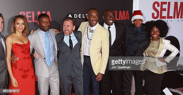 Actors Carmen Ejogo David Oyelowo Tim Roth Colman Domingo Omar Dorsey Keith Stanfield and Charity Jordan attend the 'Selma' New York Premiere at the...