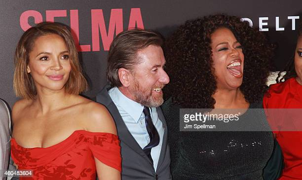 Actors Carmen Ejogo Tim Roth and Oprah Winfrey attend the 'Selma' New York Premiere at the Ziegfeld Theater on December 14 2014 in New York City