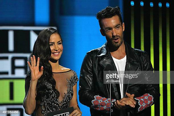Actors Carmen Villalobos and Aaron Diaz speak on stage during Telemundo's Latin American Music Awards 2015 at Dolby Theatre on October 8 2015 in...