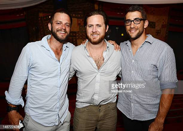 Actors Carmine Giovinazzo AJ Buckley and Jonathan Togo visit a Bedouin tent on June 3 2012 in Ein Bokek Israel