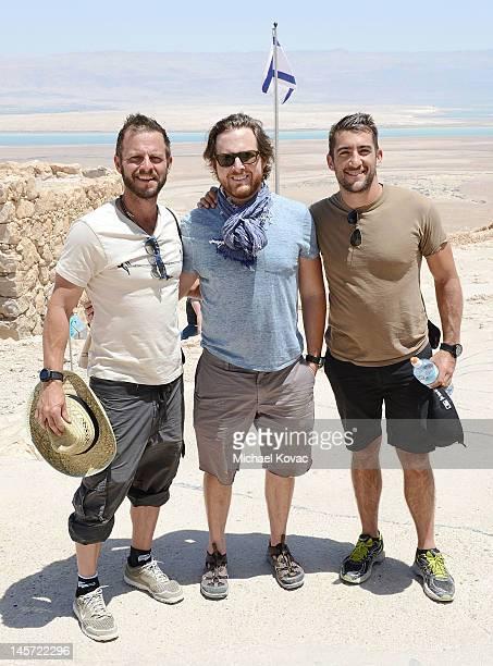Actors Carmine Giovinazzo AJ Buckley and Jonathan Togo visit Masada on June 3 2012 in Masada Israel