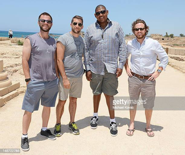 Actors Carmine Giovinazzo AJ Buckley Omar Benson Miller and Jonathan Togo visit Caesarea on June 1 2012 in Caesarea Israel