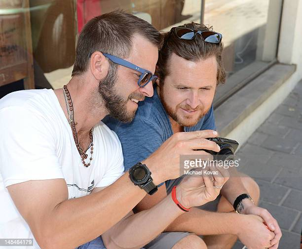 Actors Carmine Giovinazzo and AJ Buckley go sightseeing on May 31 2012 in Tel Aviv Israel