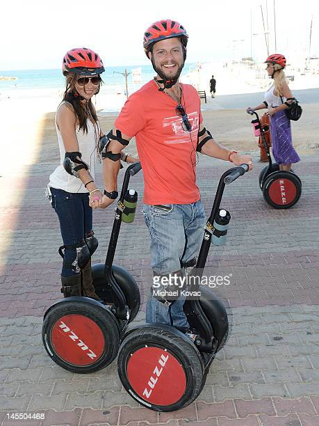Actors Carmine Giovinazzo and Vanessa Marcil take a Segway tour of Tel Aviv on May 31 2012 in Tel Aviv Israel