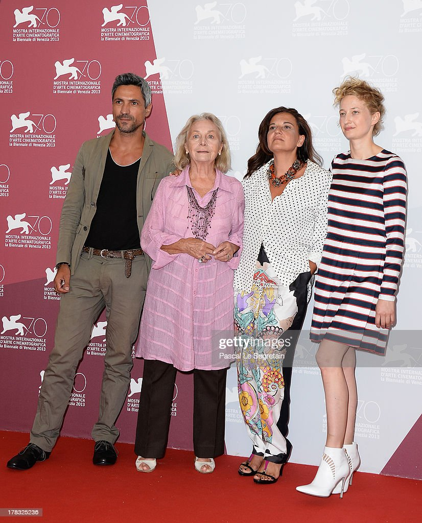 Actors Carmine Maringola, Elena Cotta, director Emma Dante and actress <a gi-track='captionPersonalityLinkClicked' href=/galleries/search?phrase=Alba+Rohrwacher&family=editorial&specificpeople=4296508 ng-click='$event.stopPropagation()'>Alba Rohrwacher</a> attend Via Castellana Bandiera Photocall during the 70th Venice International Film Festival on August 29, 2013 in Venice, Italy