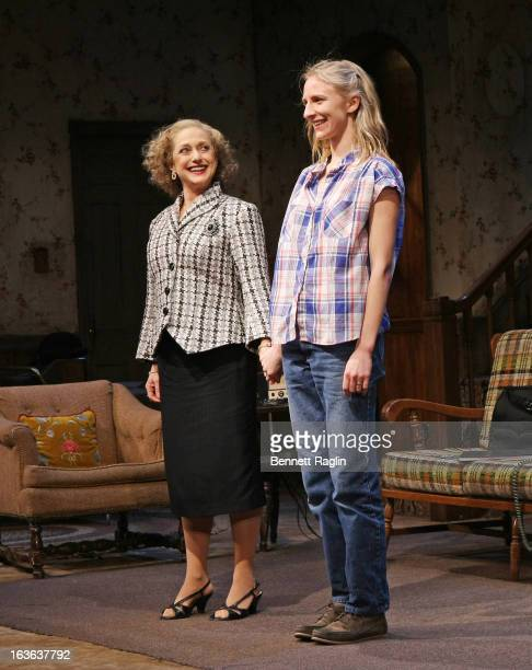Actors Carol Kane and Mickey Sumner onstage during the curtain call at 'The Lying Lesson' opening night at The Linda Gross Theater on March 13 2013...