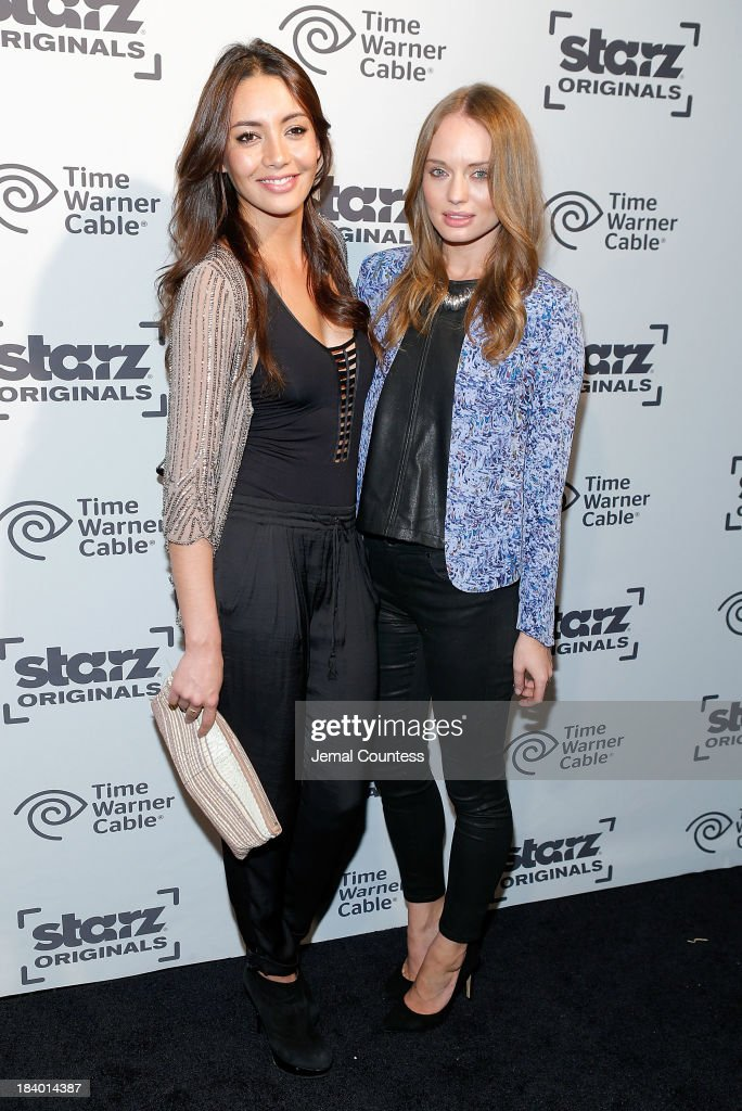 Actors Carolina Guerra and <a gi-track='captionPersonalityLinkClicked' href=/galleries/search?phrase=Laura+Haddock&family=editorial&specificpeople=4949007 ng-click='$event.stopPropagation()'>Laura Haddock</a> of the show 'Da Vinci's Demons' attend the Starz Sleep No More Event at The McKittrick Hotel on October 10, 2013 in New York City.