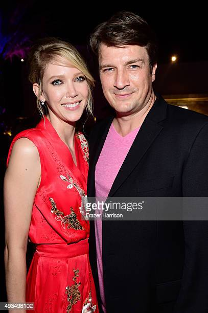 Actors Carolyn Stotesbery and Nathan Fillion attend TNT's 'Agent X' screening at The London West Hollywood on October 20 2015 in West Hollywood...