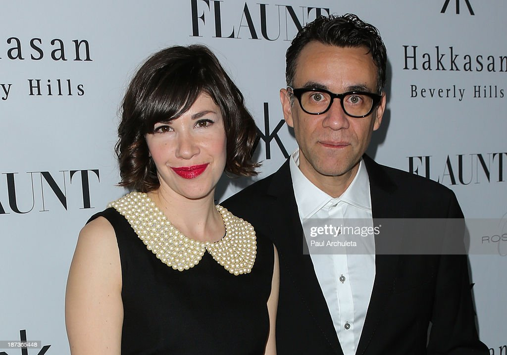 Actors <a gi-track='captionPersonalityLinkClicked' href=/galleries/search?phrase=Carrie+Brownstein&family=editorial&specificpeople=870017 ng-click='$event.stopPropagation()'>Carrie Brownstein</a> (L) and <a gi-track='captionPersonalityLinkClicked' href=/galleries/search?phrase=Fred+Armisen&family=editorial&specificpeople=221426 ng-click='$event.stopPropagation()'>Fred Armisen</a> (R) attend Flaunt magazine En Garde! issue launch party on November 7, 2013 in Beverly Hills, California.