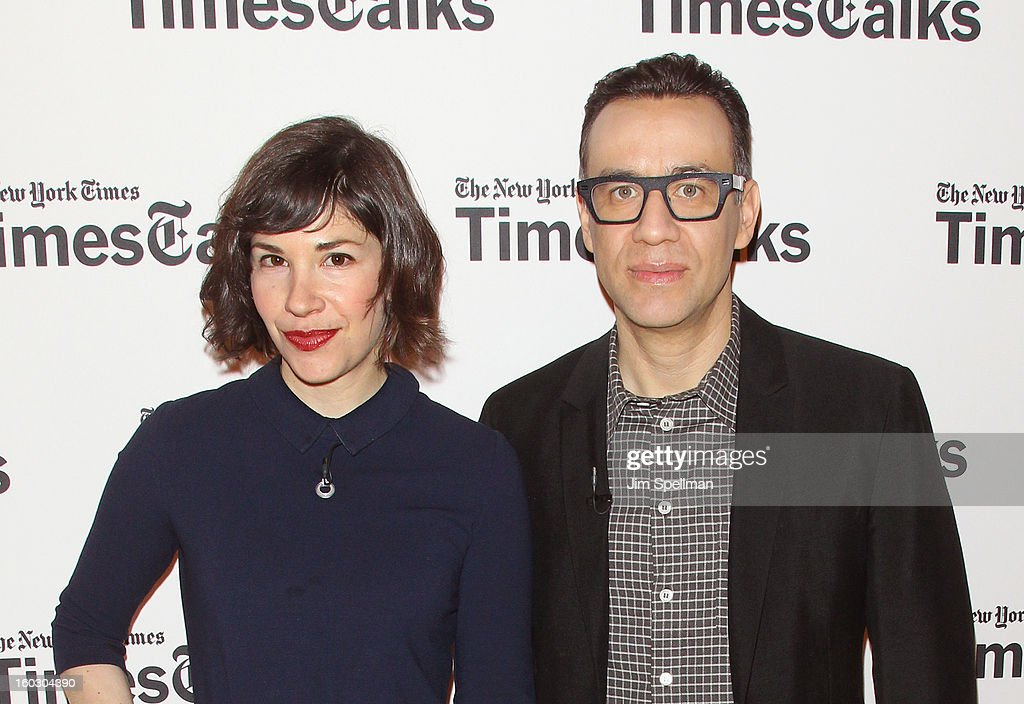 Actors <a gi-track='captionPersonalityLinkClicked' href=/galleries/search?phrase=Carrie+Brownstein&family=editorial&specificpeople=870017 ng-click='$event.stopPropagation()'>Carrie Brownstein</a> and <a gi-track='captionPersonalityLinkClicked' href=/galleries/search?phrase=Fred+Armisen&family=editorial&specificpeople=221426 ng-click='$event.stopPropagation()'>Fred Armisen</a> attend New York Times TimesTalks Presents: 'Portlandia' at TheTimesCenter on January 28, 2013 in New York City.