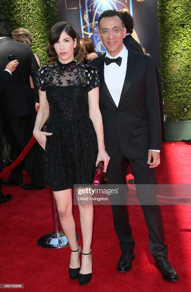 Actors Carrie Brownstein and Fred Armisen attend the 2014 Creative Arts Emmy Awards at the Nokia Theatre LA Live on August 16 2014 in Los Angeles...