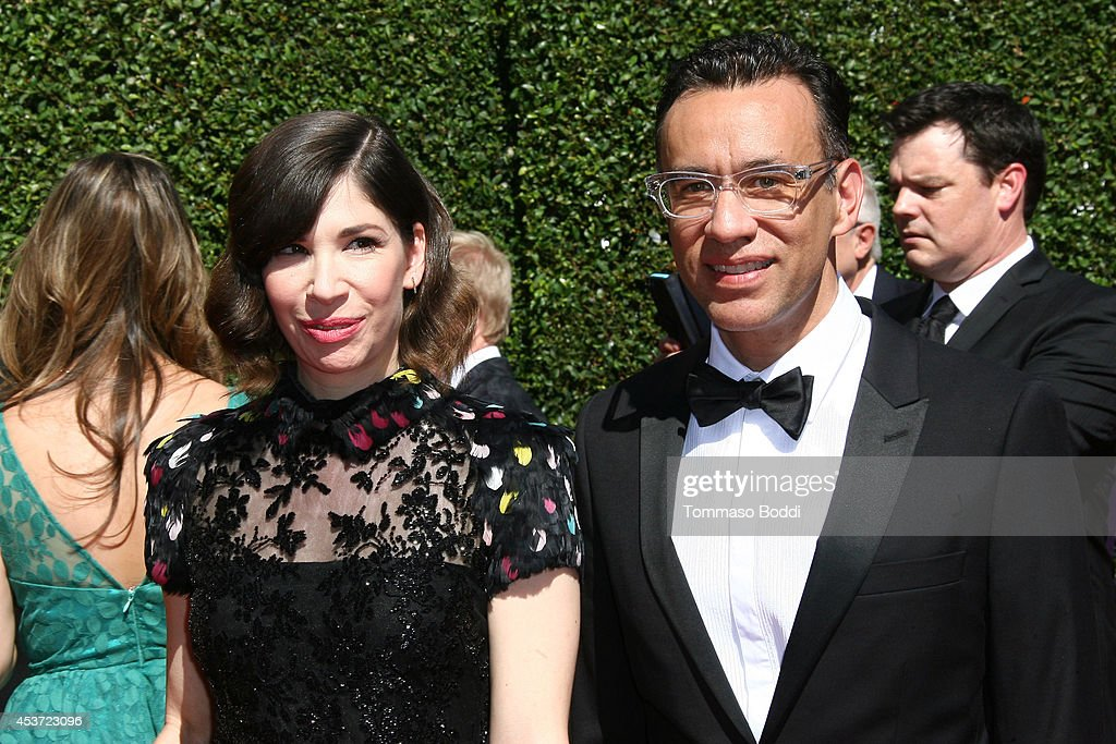 Actors Carrie Brownstein and Fred Armisen attend the 2014 Creative Arts Emmy Awards held at the Nokia Theatre LA Live on August 16 2014 in Los...