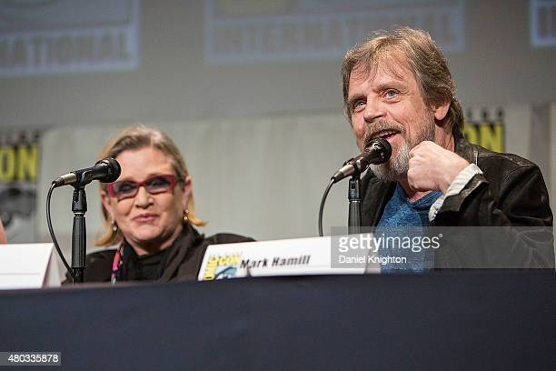 Actors Carrie Fisher and Mark Hamill attend ComicCon International at San Diego Convention Center on July 10 2015 in San Diego California