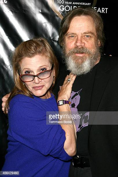 Actors Carrie Fisher and Mark Hamill attend the Midnight Mission's 100 year anniversary Golden Heart Gala held at the Beverly Wilshire Four Seasons...