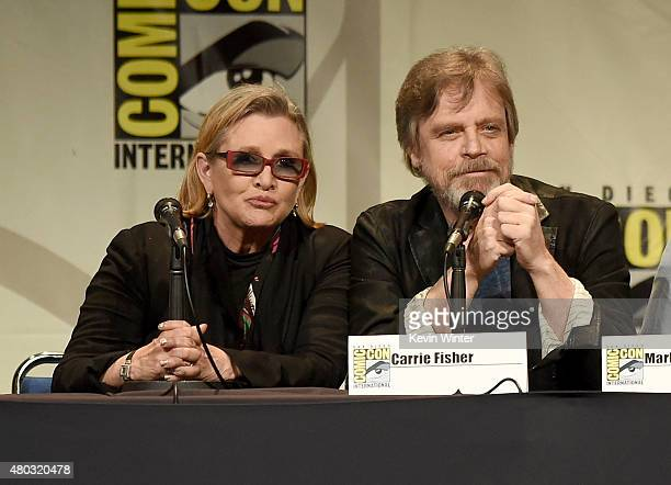 Actors Carrie Fisher and Mark Hamill speak onstage at the Lucasfilm panel during ComicCon International 2015 at the San Diego Convention Center on...