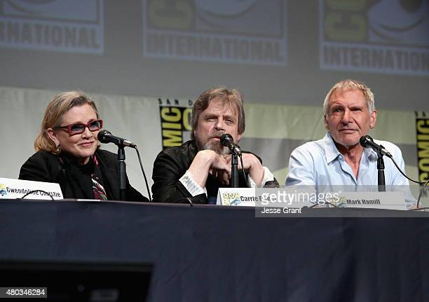 Actors Carrie Fisher Mark Hamill and Harrison Ford at the Hall H Panel for 'Star Wars The Force Awakens' during ComicCon International 2015 at the...