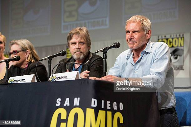 Actors Carrie Fisher Mark Hamill and Harrison Ford attend ComicCon International at San Diego Convention Center on July 10 2015 in San Diego...