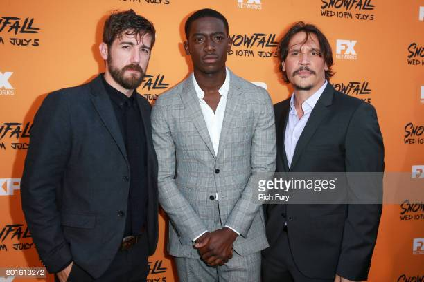 Actors Carter Hudson Damson Idris and Sergio PerisMencheta attend the premiere of FX's 'Snowfall' at The Theatre at Ace Hotel on June 26 2017 in Los...