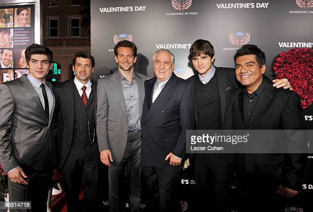 Actors Carter Jenkins Patrick Dempsey Bradley Cooper director Garry Marshall actors Ashton Kutcher and George Lopez arrive at the 'Valentine's Day'...