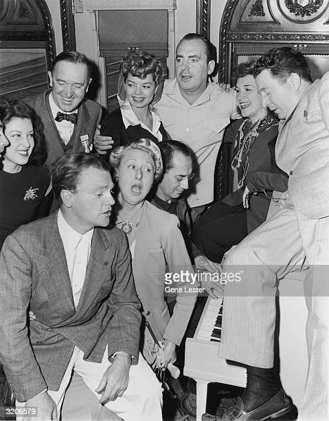 Actors Cary Grant Faye McKenzie Stan Laurel Frances Langford Pat O'Brien Rise Stevens Frank McHugh James Cagney Charlotte Greenwood and Groucho Marx...