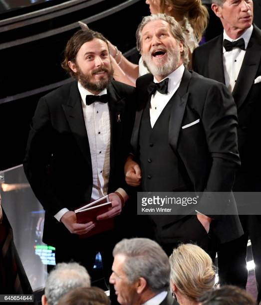 Actors Casey Affleck and Jeff Bridges in the audience during the 89th Annual Academy Awards at Hollywood Highland Center on February 26 2017 in...