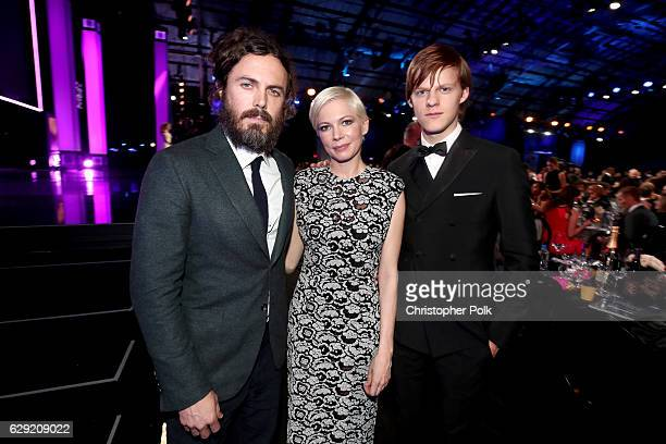 Actors Casey Affleck Michelle Williams and Lucas Hedges attend The 22nd Annual Critics' Choice Awards at Barker Hangar on December 11 2016 in Santa...