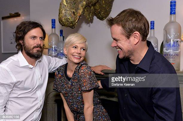 Actors Casey Affleck Michelle Williams and producer Matt Damon at the Manchester By The Sea TIFF party hosted by GREY GOOSE Vodka and Soho House...