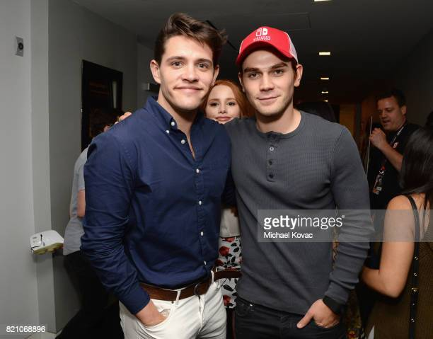 Actors Casey Cott and KJ Apa from the television series 'Riverdale' stopped by Nintendo at the TV Insider Lounge to check out Nintendo Switch during...