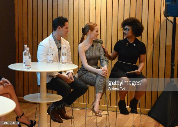Actors Casey Cott and Madelaine Petsch of Riverdale series are interviewed by Angelica Bastien at the Vulture Festival at The Standard High Line on...