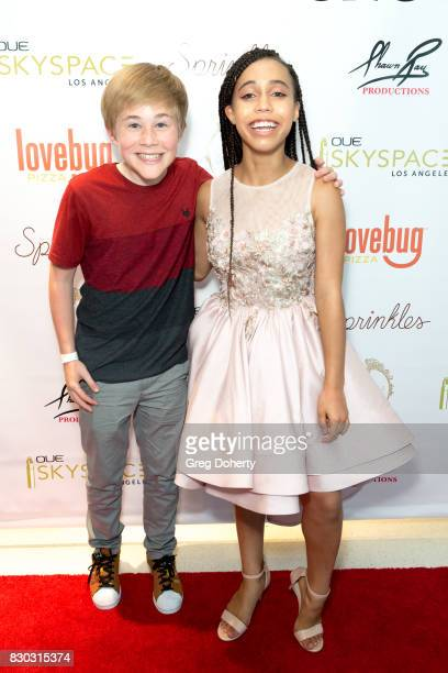 Actors Casey Simpson and Asia Monet arrive for Asia Monet's 12th Birthday Party at OUE Skyspace LA on August 10 2017 in Los Angeles California