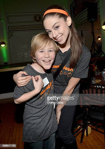 Actors Casey Simpson and Kira Kosarin attend 'The Salvation Army's Feast Of Sharing Holiday Dinner' presented by Nickelodeon HALO at Casa Vertigo on...