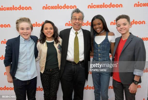 Actors Casey Simpson Breanna Yde writer Chris Grabenstein actors Klarke Pipkin and AJ Luis Rivera Jr at Nickelodeon's 'Escape From Mr Lemoncello's...