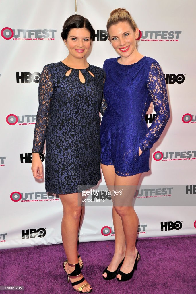 Actors <a gi-track='captionPersonalityLinkClicked' href=/galleries/search?phrase=Casey+Wilson&family=editorial&specificpeople=4980510 ng-click='$event.stopPropagation()'>Casey Wilson</a> and June Raphael arrive at the Outfest Opening Night Gala of 'C.O.G.' at Orpheum Theatre on July 11, 2013 in Los Angeles, California.