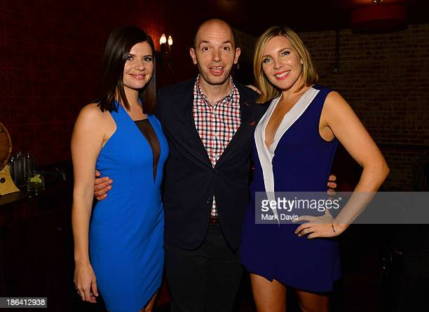Actors Casey Wilson Paul Scheer and June Diane Raphael attend the after party of Gravitas Ventures' 'Ass Backwards' at the Vista Theatre on October...
