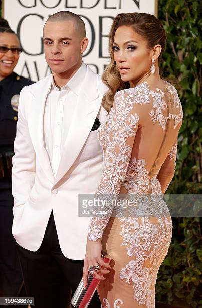 Actors Casper Smart and Jennifer Lopez arrive at the 70th Annual Golden Globe Awards held at The Beverly Hilton Hotel on January 13 2013 in Beverly...