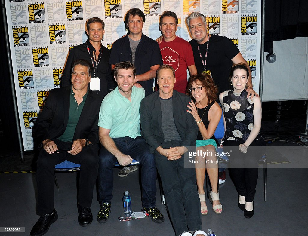Actors Casper Van Dien, Nathan Fillion and Nolan North and author PJ Haarsma; and (bottom row L-R) actors Lou Ferrigno, Liam McIntyre, Alan Tudyk, Mindy Sterling, and Felicia Day attend the 'Con Man' panel during Comic-Con International 2016 at San Diego Convention Center on July 22, 2016 in San Diego, California.