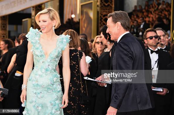 Actors Cate Blanchett and Bryan Cranston attend the 88th Annual Academy Awards at Hollywood Highland Center on February 28 2016 in Hollywood...