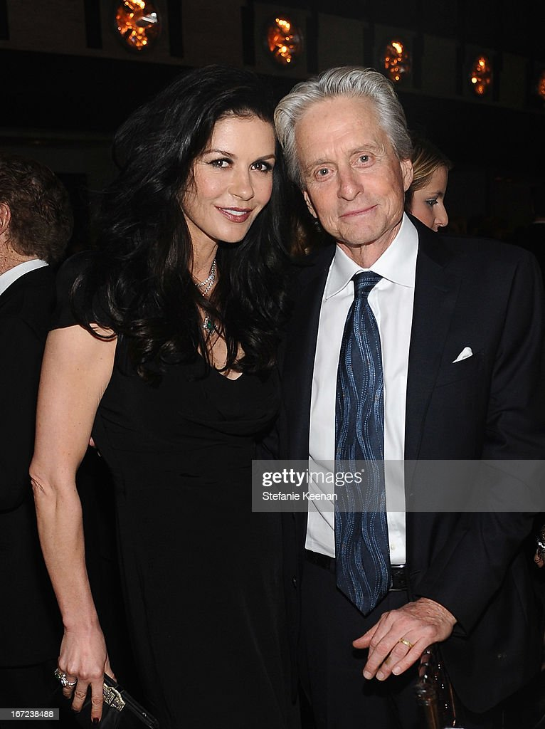 Actors Catherine Zeta Jones and Michael Douglas attend The Film Society of Lincoln Center's 40th Chaplin Award Gala supported by Grey Goose vodka at Avery Fisher Hall, Lincoln Center on April 22, 2013 in New York City.