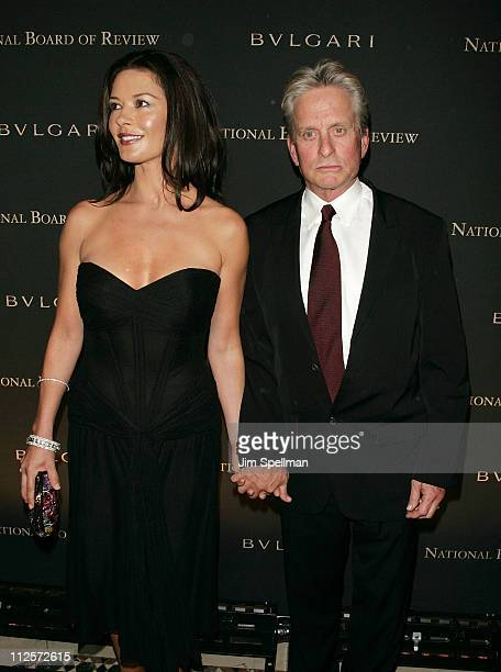 Actors Catherine ZetaJones and Michael Douglas arrive at the 2007 National Board of Review of Motion Pictures Awards Gala at Cipriani's 42nd St on...