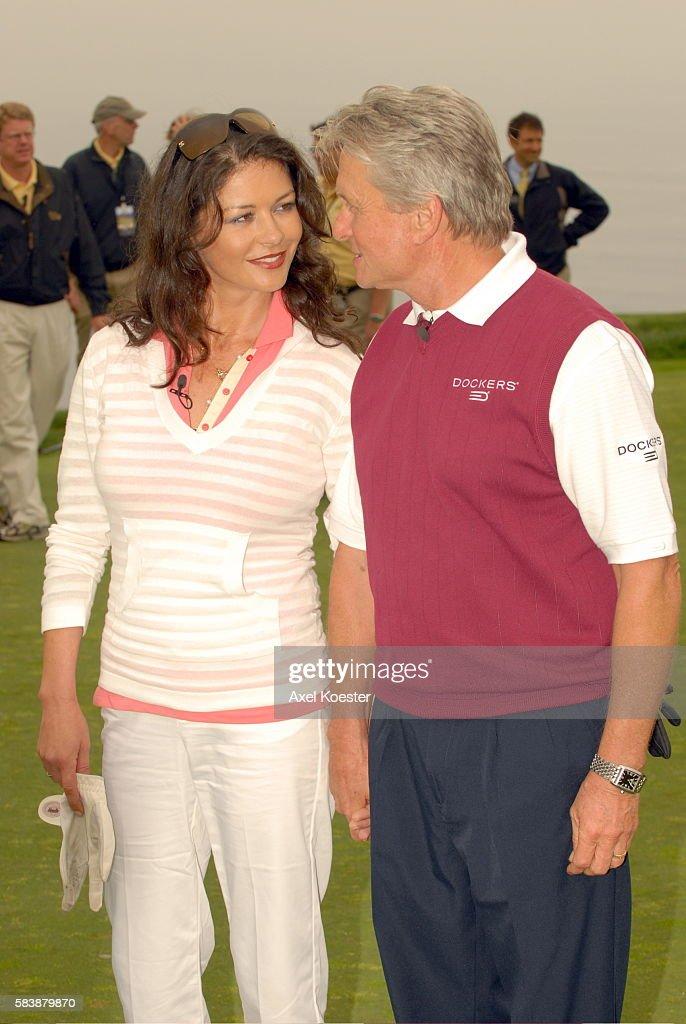 Actors Catherine ZetaJones and Michael Douglas at the Ninth Annual Michael Douglas Friends Celebrity Golf Tournament at the Trump National Golf Club...