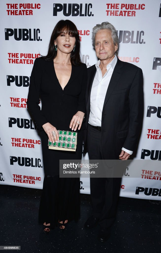 Actors <a gi-track='captionPersonalityLinkClicked' href=/galleries/search?phrase=Catherine+Zeta-Jones&family=editorial&specificpeople=167111 ng-click='$event.stopPropagation()'>Catherine Zeta-Jones</a> and <a gi-track='captionPersonalityLinkClicked' href=/galleries/search?phrase=Michael+Douglas&family=editorial&specificpeople=171111 ng-click='$event.stopPropagation()'>Michael Douglas</a> attend 'The Library' opening night celebration at The Public Theater on April 15, 2014 in New York City.