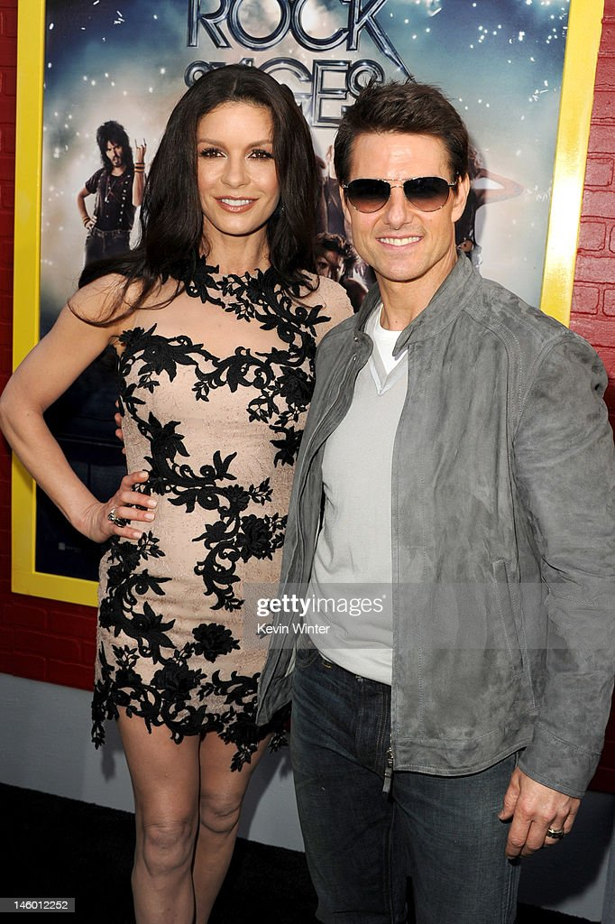 Actors Catherine Zeta-Jones and Tom Cruise arrive at the premiere of Warner Bros. Pictures' 'Rock of Ages' at Grauman's Chinese Theatre on June 8, 2012 in Hollywood, California.