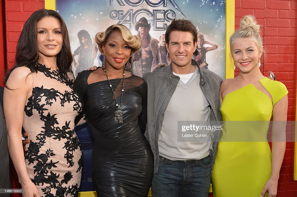 Actors Catherine Zeta-Jones, Mary J. Blige, Tom Cruise and Julianne Hough arrive at the 'Rock of Ages' Los Angeles premiere held at Grauman's Chinese Theatre on June 8, 2012 in Hollywood, California.