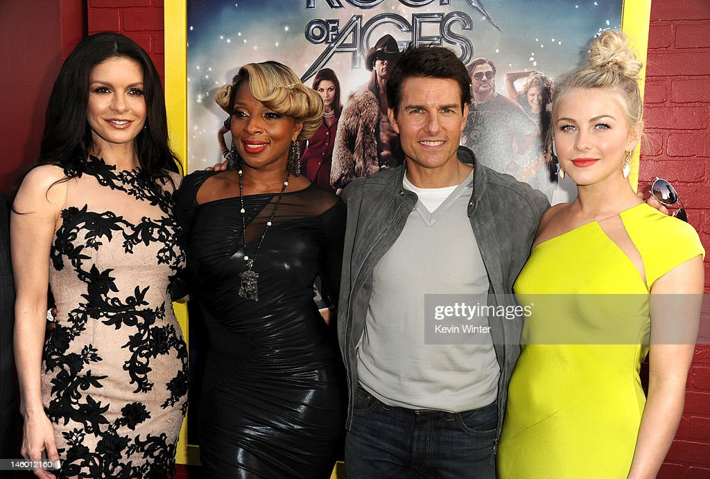 Actors <a gi-track='captionPersonalityLinkClicked' href=/galleries/search?phrase=Catherine+Zeta-Jones&family=editorial&specificpeople=167111 ng-click='$event.stopPropagation()'>Catherine Zeta-Jones</a>, Mary J. Blige, <a gi-track='captionPersonalityLinkClicked' href=/galleries/search?phrase=Tom+Cruise&family=editorial&specificpeople=156405 ng-click='$event.stopPropagation()'>Tom Cruise</a> and <a gi-track='captionPersonalityLinkClicked' href=/galleries/search?phrase=Julianne+Hough&family=editorial&specificpeople=4237560 ng-click='$event.stopPropagation()'>Julianne Hough</a> arrive at the premiere of Warner Bros. Pictures' 'Rock of Ages' at Grauman's Chinese Theatre on June 8, 2012 in Hollywood, California.