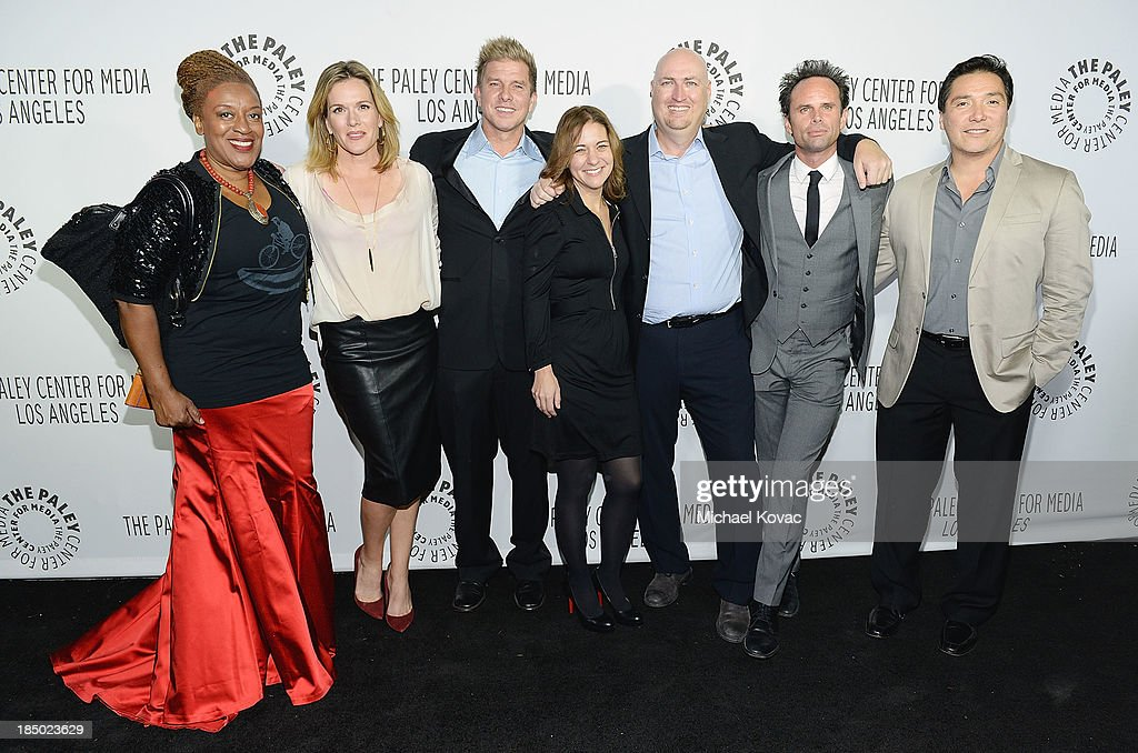 Actors C.C.H. Pounder, Catherine Dent, Kenny Johnson, Kathy Ryan, producer Shawn Ryan, Walton Goggins and Benito Martinez arrive at The Paley Center for Media's 2013 benefit gala honoring FX Networks with the Paley Prize for Innovation & Excellence at Fox Studio Lot on October 16, 2013 in Los Angeles, California.