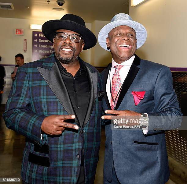Actors Cedric the Entertainer and Michael Colyar seen backstage during the 2016 Soul Train Music Awards on November 6 2016 in Las Vegas Nevada