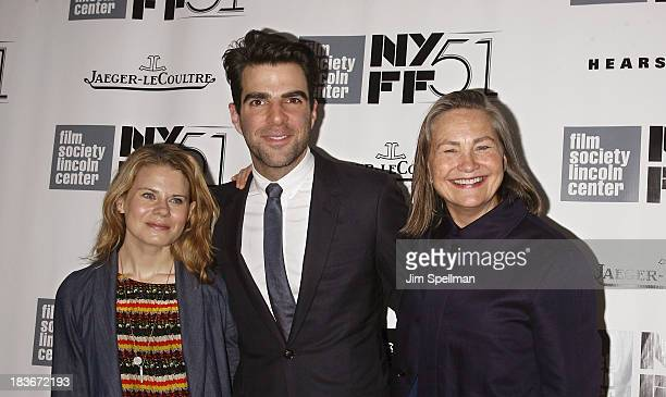 Actors Celia KeenanBolger Zachary Quinto and Cherry Jones attend the 'All Is Lost' Premiere during the 51st New York Film Festival at Alice Tully...