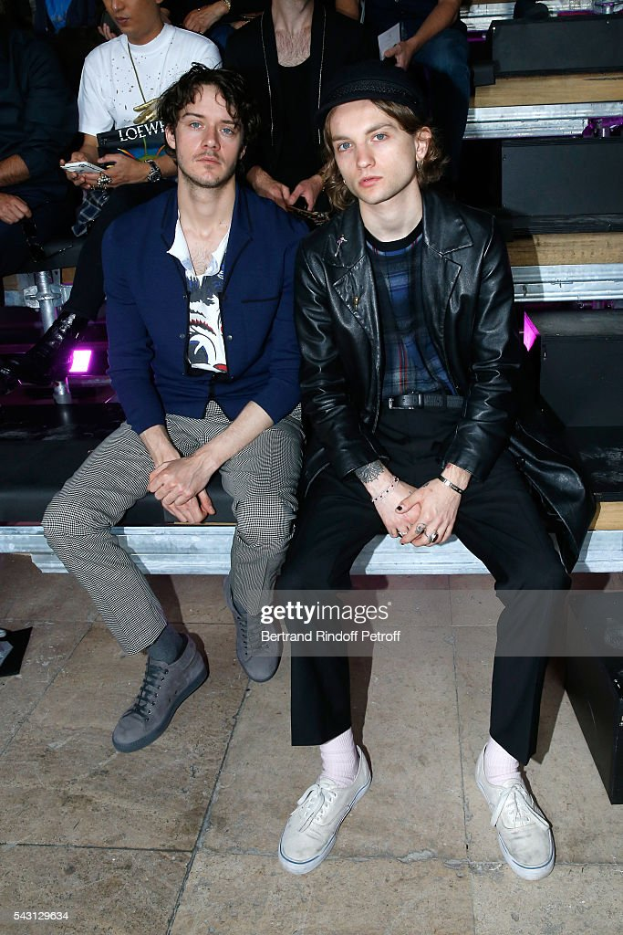 Actors Cesar Domboy and Lucas Ionesco attend the Lanvin Menswear Spring/Summer 2017 show as part of Paris Fashion Week on June 26, 2016 in Paris, France.