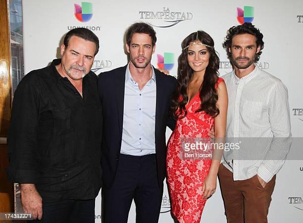 Actors Cesar Evora William Levy Ximena Navarrete and Ivan Sanchez attends the premiere of Univision's new telenovela 'La Tempestad' at Universal...