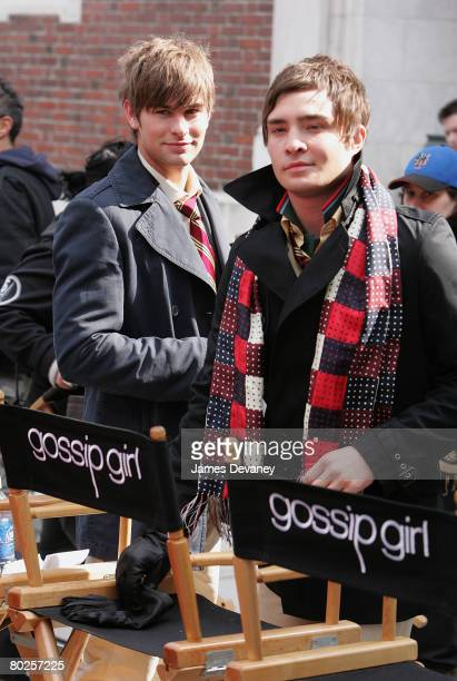 Actors Chace Crawford and Ed Westwick on location for 'Gossip Girl' on March 14 2008 in New York City